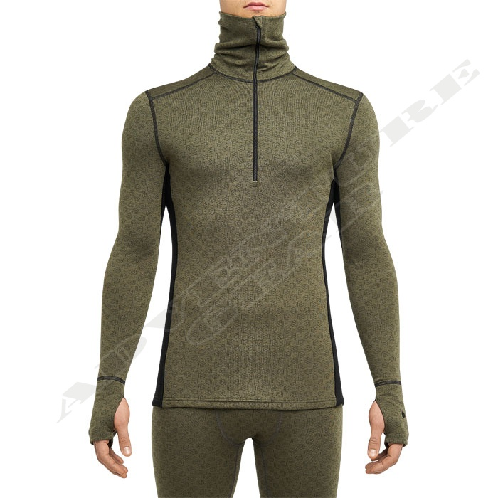 Merino X-Treme ½ zipper LS Turtleneck Shirt OD/Black